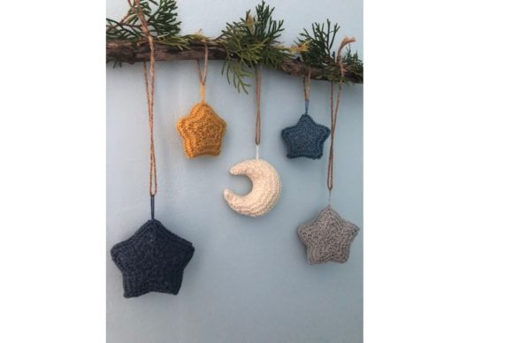Moon and Stars Knit Christmas Ornament Graphic Item