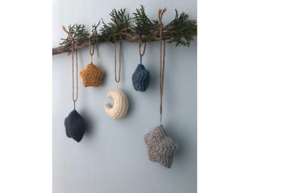 Moon and Stars Knit Christmas Ornament Graphic Design