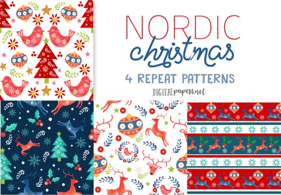 Print on Demand: Nordic Christmas Repeat Patterns Graphic Illustrations By DigitalPapers