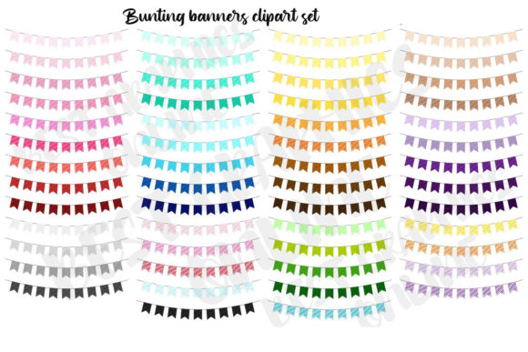 Party Bunting Banners Clipart Set Graphic Illustrations By bestgraphicsonline