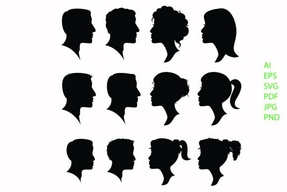 Print on Demand: People Avatar Silhouette Vector Graphic Crafts By BOdesign