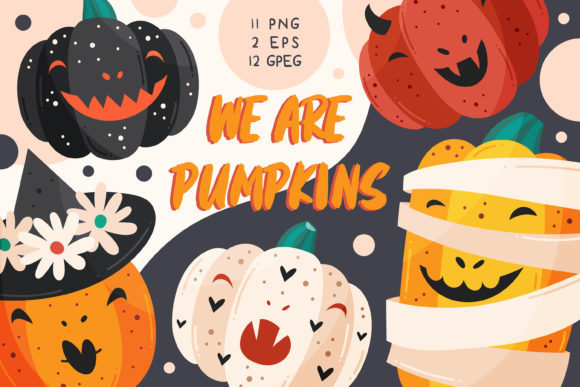 Print on Demand: Spooky Pumpkins with Funny Faces. Graphic Illustrations By FoxBiz