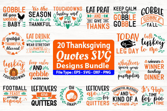 Print on Demand: Thanksgiving Quotes SVG Design Bundle Graphic Print Templates By Design Store