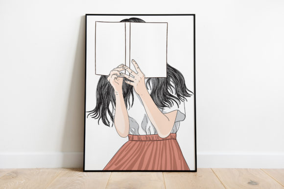 Print on Demand: Wall Art a Girl Standing Reading a Book Graphic Illustrations By Saydung89