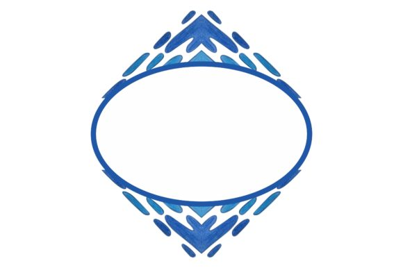 Print on Demand: Watercolor Ornament Frame Border Blue Graphic Crafts By Arief Sapta Adjie