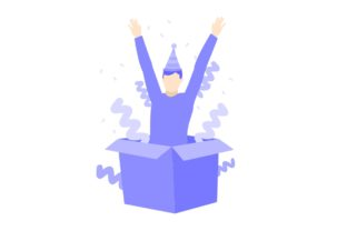 Man Surprise Coming out of the Box Party Graphic Illustrations By Ardwork