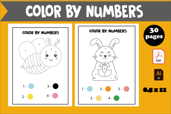 30 Color by Numbers Coloring Book Graphic KDP Interiors By KDP_DESIGN