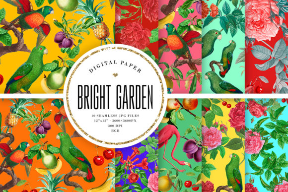 Print on Demand: Bright Vintage Garden Seamless Patterns Graphic Backgrounds By Sabina Leja