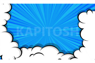 Cartoon Puff Cloud Blue Comic Book Graphic Illustrations By Kapitosh