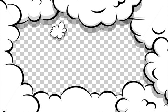 Cartoon Puff Cloud Frame Template Comics Graphic Backgrounds By Kapitosh