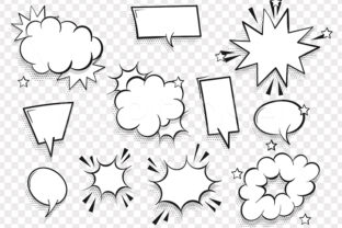 Cartoon Puff Cloud Frame Template Set Graphic Objects By Kapitosh
