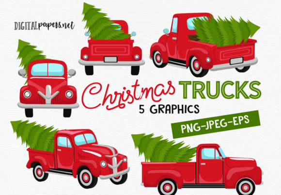 Print on Demand: Christmas Vintage Trucks Graphic Illustrations By DigitalPapers