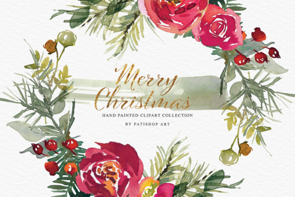 Christmas Watercolor Clipart Set Graphic Illustrations By Patishop Art