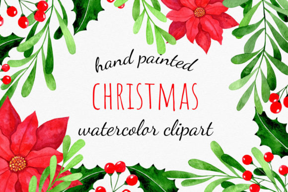Christmas Floral Elements Clipart Graphic Illustrations By RedDotsHouse