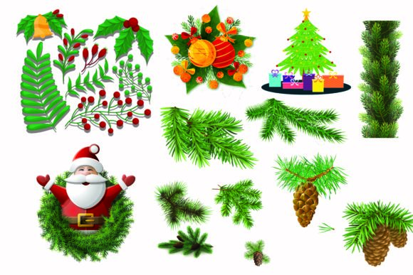 Print on Demand: Christmas Trees, Gifts Collection Vector Graphic Illustrations By BOdesign