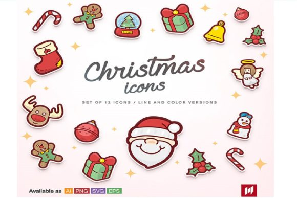Print on Demand: Christmas Vector Icons Collection Graphic Illustrations By BOdesign