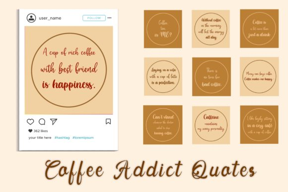Coffee Addict Social Media Quote & Icon Graphic Websites By toei.storyline