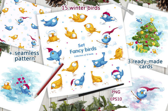 Fancy Winter Birds. Stickers, Clipart. Graphic Illustrations By Maycat