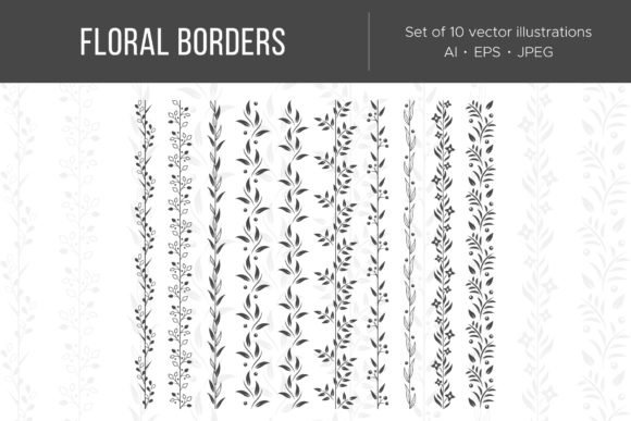 Floral Borders and Garlands Graphic Illustrations By Cmeree