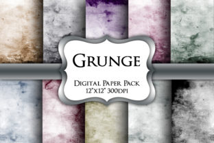 Print on Demand: Grunge Textures Digital Paper Pack Graphic Backgrounds By Party Pixelz