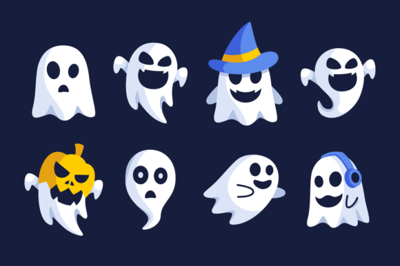 Halloween Ghost Flat Design Collections Graphic Illustrations By Rexcanor