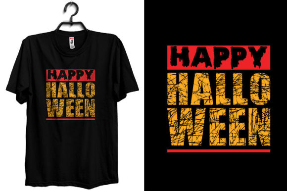 Halloween T-shirt Design with Happy Text Graphic Print Templates By Storm Brain