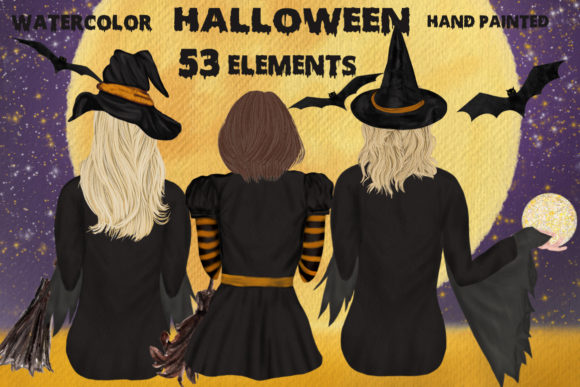 Halloween Clipart Witches Sitting Graphic Illustrations By LeCoqDesign