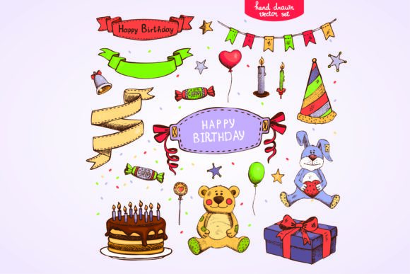 Print on Demand: Hand Drawn Birthday Vector Set Grafik Illustrationen von BOdesign