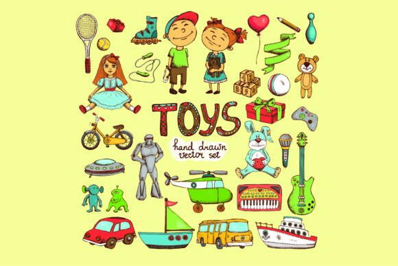Print on Demand: Hand Drawn Children's Toys Graphic Illustrations By BOdesign
