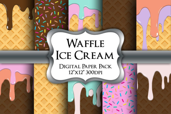 Print on Demand: Ice Cream Cone Digital Paper Pack Graphic Backgrounds By Party Pixelz