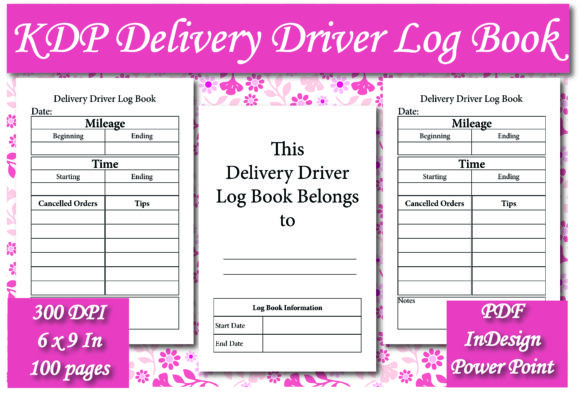 Print on Demand: KDP Delivery Driver Log Book Interior Graphic KDP Interiors By Ivana Prue