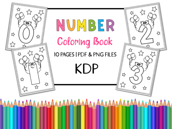KDP Number Coloring Book for Kids Set 2 Grafik Ausmalseiten & Malbücher für Kinder von Miss Cherry Designs