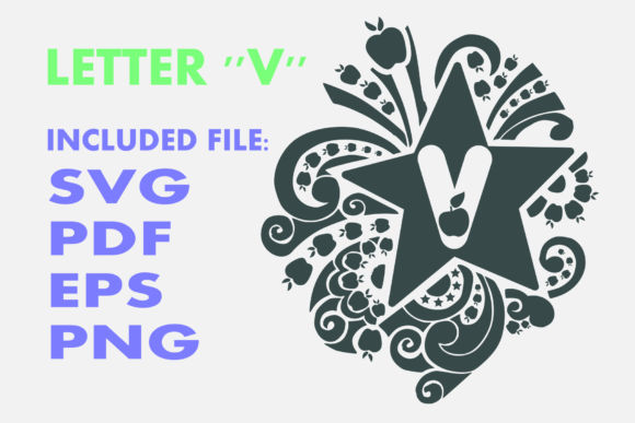 Print on Demand: Letter V Apple Star Graphic Crafts By Infontree