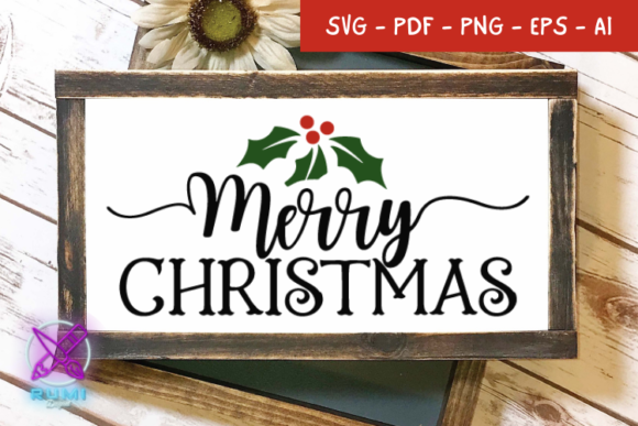 Merry Christmas Farmhouse Sign SVG Graphic Crafts By Rumi Designed