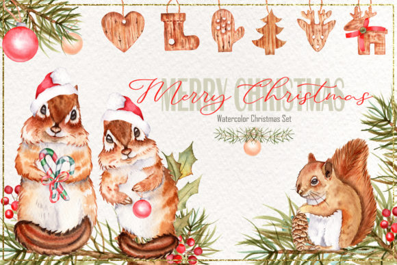 Print on Demand: Merry Christmas Watercolor Collection Graphic Illustrations By tanatadesign