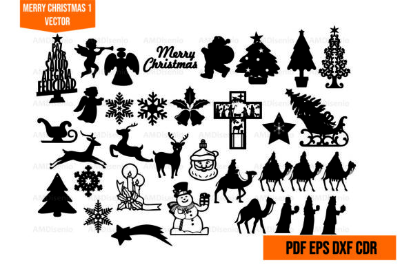 Merry Christmas Vector Cut Graphic Illustrations By AM Diseño