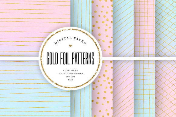 Print on Demand: Pink & Blue Ombre & Gold Foil Patterns Graphic Backgrounds By Sabina Leja