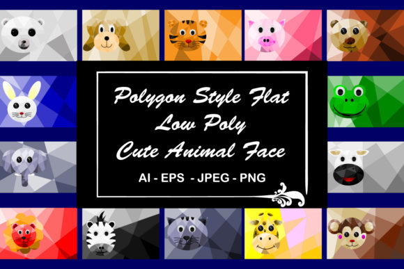 Print on Demand: Polygon Style Flat  Low Poly Cute Animal Graphic Backgrounds By Mahesa Design