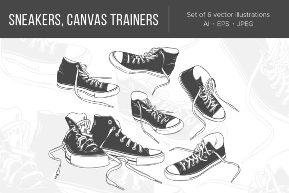 Sports Sneakers, Canvas Trainers Graphic Illustrations By Cmeree
