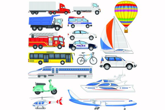 Print on Demand: Transportation Items Collection Vector Graphic Illustrations By BOdesign