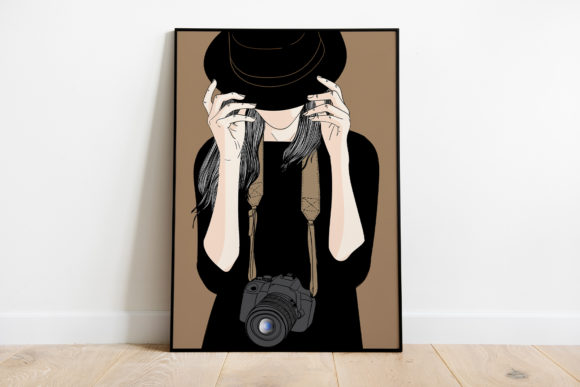 Print on Demand: Wall Art a Girl with a Camera Graphic Illustrations By Saydung89