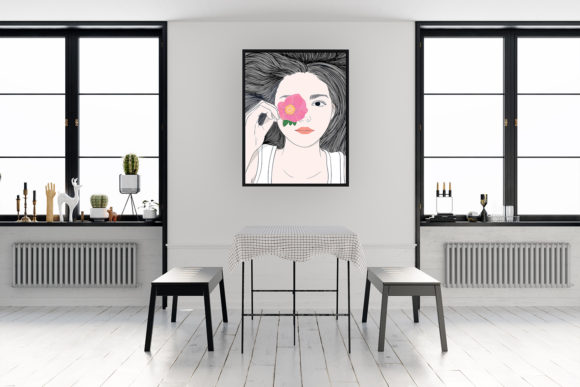 Wall Art Girl with Long Hair and Flowers Graphic Graphic
