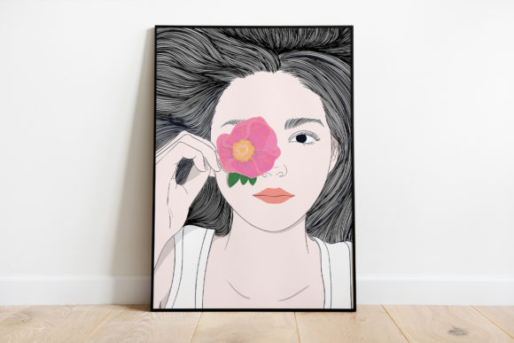 Wall Art Girl with Long Hair and Flowers Graphic Item