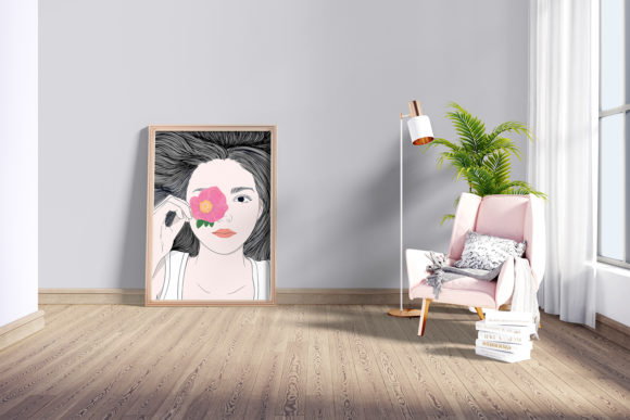 Wall Art Girl with Long Hair and Flowers Graphic Preview