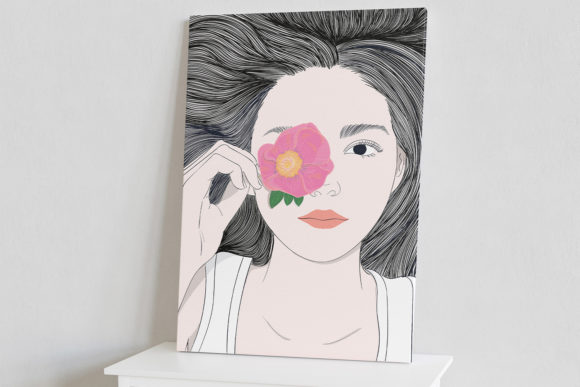 Wall Art Girl with Long Hair and Flowers Graphic Design Item