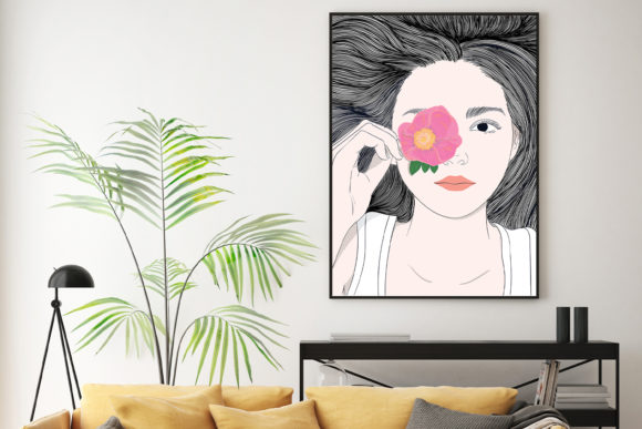 Wall Art Girl with Long Hair and Flowers Graphic Downloadable Digital File