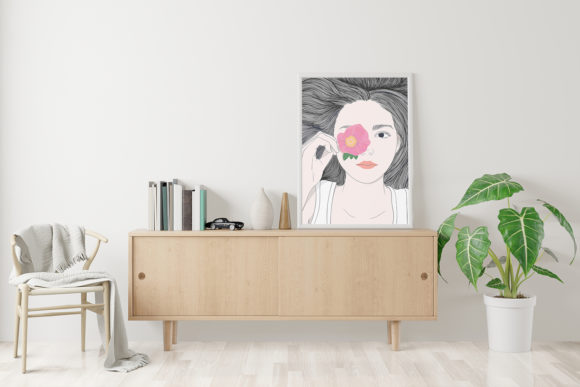 Wall Art Girl with Long Hair and Flowers Graphic Popular Design