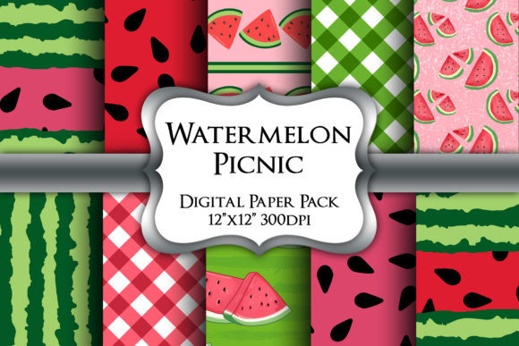 Print on Demand: Watermelon Picnic Digital Paper Pack Graphic Backgrounds By Party Pixelz