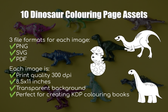 10 Dinosaur Images for Colouring Books Graphic Coloring Pages & Books Kids By Take It And Teach