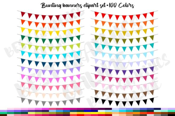 100 Bunting Banners Party Flags Clipart Graphic Illustrations By bestgraphicsonline